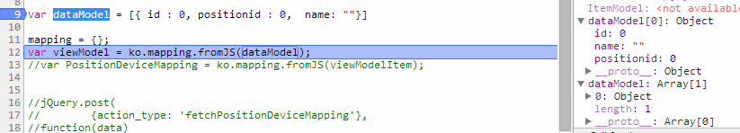 knockout exception - Cannot read property fromJS of undefined