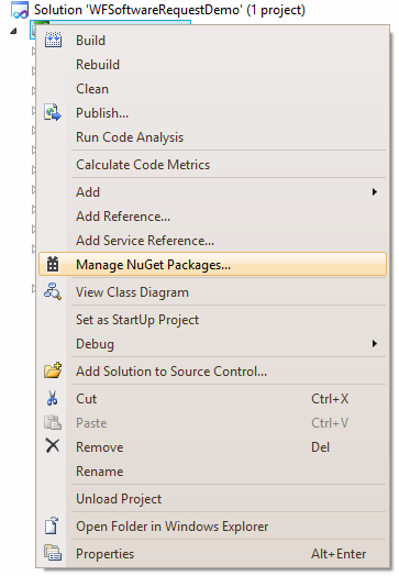 context menu to open nuget window