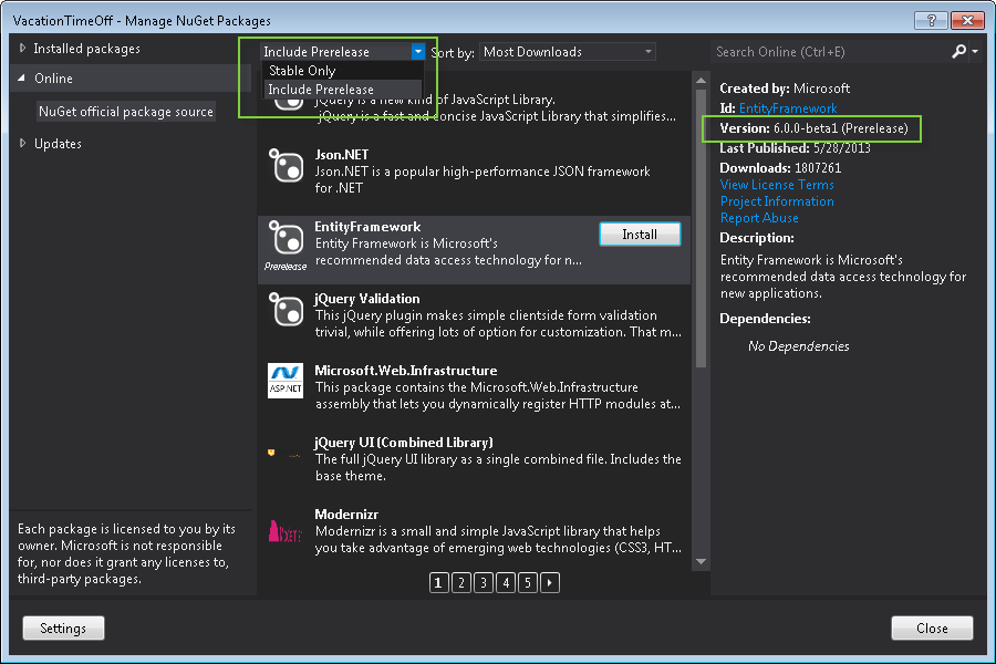 Manage Nuget Package Window Screen Shot