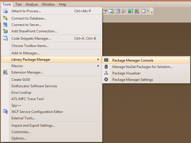 nuget package manager console menu