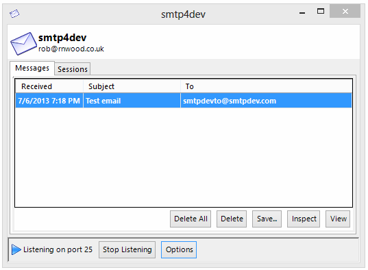 smtp dev localhost email client window screenshot